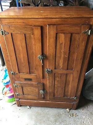 Vintage Antique Oak Wooden  Ice Box/chest Refrigerator 48 X 34.5 X 19