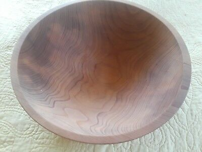 "Vintage  Large Tree Spirit Hard Wood Dough Bowl 13 1/4"" Diameter Nice Grain"