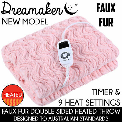 500GSM FAUX FUR HEATED ELECTRIC THROW RUG Snuggle Blanket Washable PINK BLUSH