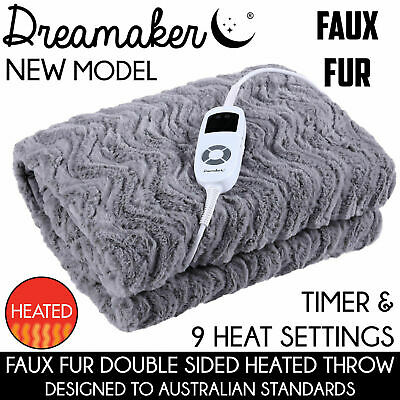 500GSM FAUX FUR SILVER HEATED ELECTRIC THROW RUG Snuggle Blanket Washable GREY