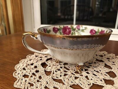 Original Napco China Cup Hand Painted Vintage Gold Trim Footed Tea Cup  1Dd293