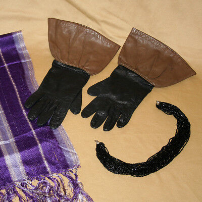 Vintage Women's Gauntlet Gloves, Choker Necklace with Scarf