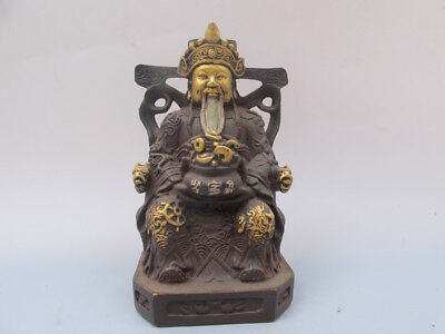 Old China bronze Lucky God of wealth Cornucopia Statues Ornament