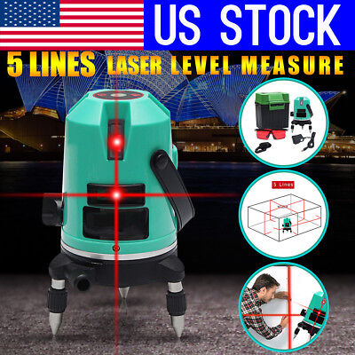 USA 5 Line Laser Automatic Level Red Self-Leveling 360° Rotating Cross Measure