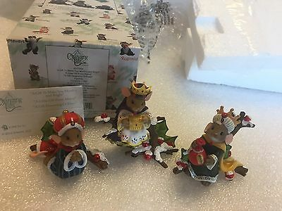 """Charming Tails """"A Gift To Make You Myrrhy And Bright"""" DEAN GRIFF NIB 3 ORNAMENTS"""