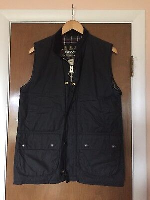 Excellent BARBOUR Classic Westmorland Navy Blue Waxed Vest Waistcoat S 36 38