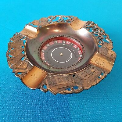 Old Las Vegas metal ashtray roulette wheel (works well) cigar smoker's ashtray