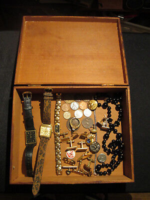 Junk Drawer Lot estate sale vtg box 14k gold sterling old coins BULOVA Cuff Link
