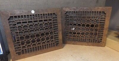 "Antique Matching Pair Of Cast Iron Floor Furnace Grates Pics 13.75""x12"""