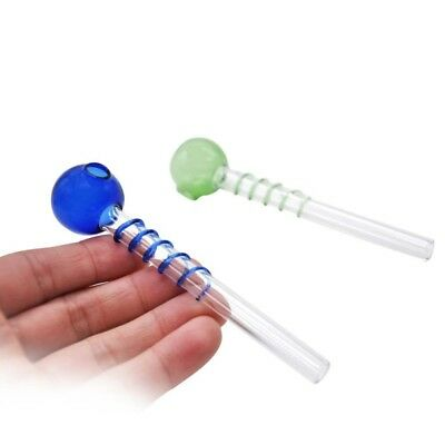 Portable Glass Hand Tobacco Smoking Pipe Spiral Pipes Cigarette Filter Holder AU