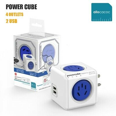 Allocacoc PowerCube 4 Outlet 2 USB Charger 1.5M Extension Cord AU/NZ Power Board