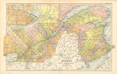 1907 Antique Map- Bacon - Canada, Quebec and New Brunswick