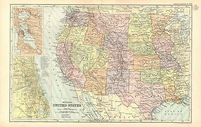 1907 Antique Map- Bacon - United States Western, San Francisco, Chicago