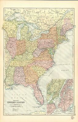1907 Antique Map- Bacon - United States Eastern, New York, Great Lakes, Florida