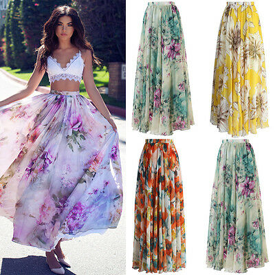 BOHO Ladies Floral Jersey Gypsy Long Maxi Full Skirt Summer Beach Sun Dress NEW