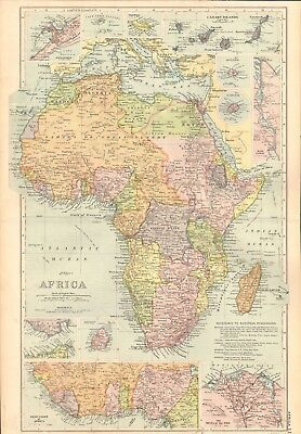 1907 Antique Map- Bacon - Africa,West Coast,Nile Delta,Canary Islands,Alexandria