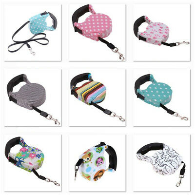 Cute Retractable Cord Dog Leash 16ft Nylon Tape Walking Lead Rope Pet Cat Puppy