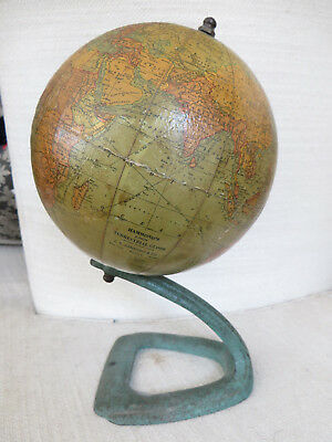 "ANTIQUE C.S. HAMMOND & Co. HAMMOND'S 6"" TERRESTRIAL GLOBE CAST IRON BASE 1927-30"