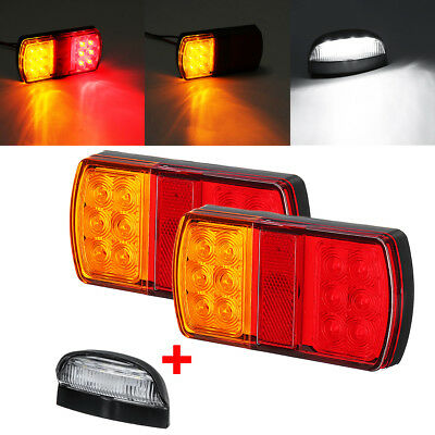 2x 12LED Marine Trailer pair of Lights + Number Plate Light Kit Submersible Boat