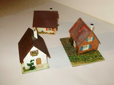 Old Faller small houses x 3. Good cond. Possibly incomplete. HO. Made in Germany