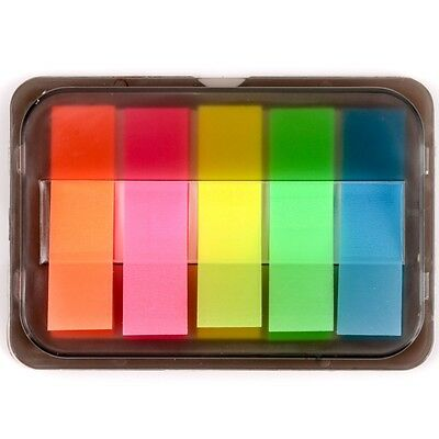 ASSORTED NEON STICKY TABS Translucent Book/Page Index Marker Stationery Strips