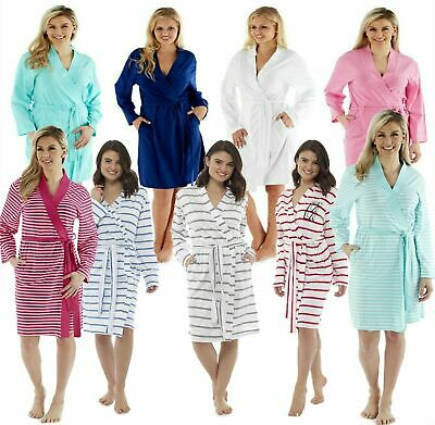 Ladies Long Lightweight Summer Jersey Bath Robe 100% Cotton Dressing Gown Towel