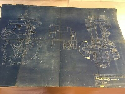 Vintage Norton 16H motorcycle engine original factory blueprint not manx