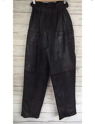 VINTAGE Size: S High Waisted Black Leather Pants Paperbag Waist Retro Lined