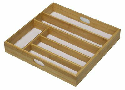 Bamboo Wood Wooden Cutlery Tray Drawer Organiser Rack 6 Section White Base