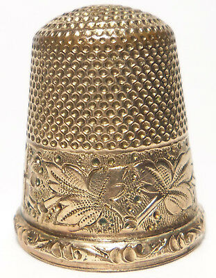 Antique Gold Filled Thimble ENGRAVED GRAPE MOTIF by Stern Bros