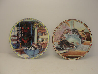 2 decorative cat plates.  Knowles Fine China.