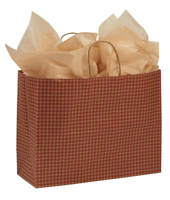 "Paper Shopping Bags 100 Red Gingham Gift Retail Merchandise 16"" x 6"" x 12"" Vogue"