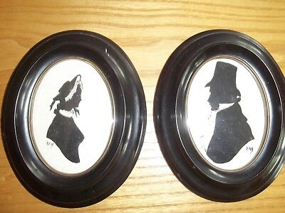 A Pair Of Original Handpainted Silhouettes By Ray - Oval Frames - Vgc