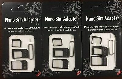 Nano to Micro SIM Card Adapter Converter / for Samsung iPhone. BLACK( 3 card )