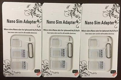 Nano to Micro/Standard SIM Card Adapter Converter for Samsung /iPhone White (3)