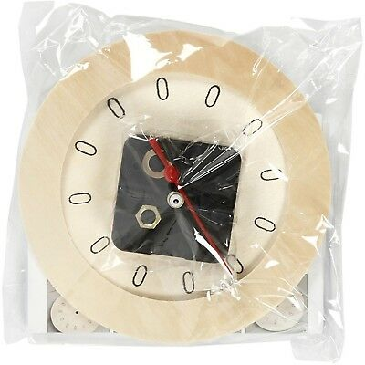 Small Ply Wood Decorate Clock With Mechanism Complete Set 15cm Fine Quality CR6