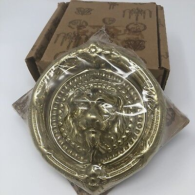 Vintage Virginia Metalcrafters Lion Brass Door Knocker New 5 Inch Round Circle