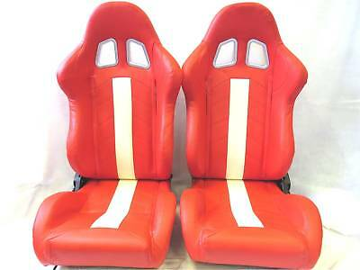 Pair of Red +white PU Leather Reclining Sport Seats  Racing Seats  Bucket Seats