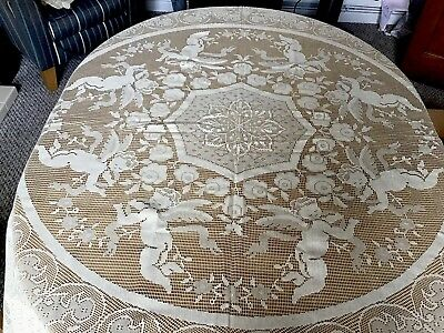 Large Vintage Italian Lace Tablecloth With Cherub Design ( Never Used )