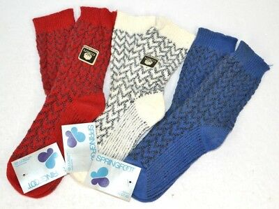 Vtg 1970s Lot of 3prs Springfoot THICK Cotton/Solara Blend Textured Socks 9-11 B