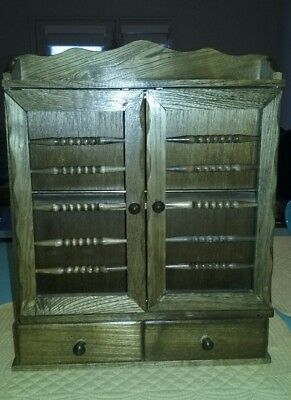 VINTAGE WOOD WALL SPICE RACK CABINET WITH 2 DRAWERS Japan
