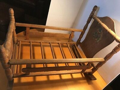 """Vintage Baby Cradle bassinet With bear Painted 24""""x16""""x16"""""""