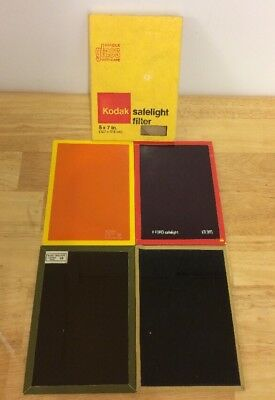 4 X Kodak Wratten Vintage Glass Safelight Filters - 5 x 7 One boxed and unused ?
