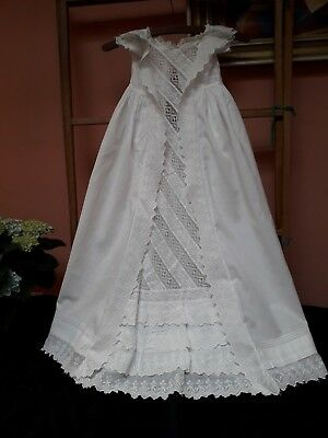 Antique Lace Christening Gown Dress Vintage Embroidered Baby Doll Cotton