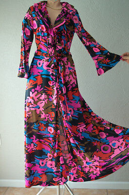 Vintage Nylon Robe Feminine Ruffled Cuffs deep Plunging Collar Vibrant Floral