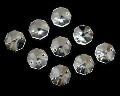 200PC 14MM 2 Hole Clear Chandelier Lamp Octagon Crystal Glass Beads Chain Part