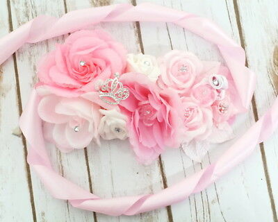 Pink Maternity Corsage Sash Mom To Be Baby Shower Ribbon Belt Flower