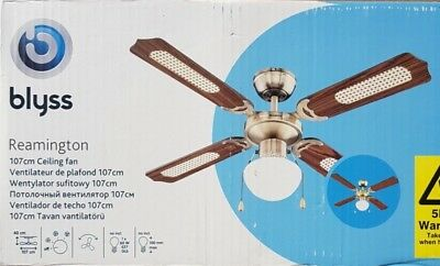 Blyss ceiling fan reamington antique effect 107cm 60w brand blyss ceiling fan reamington antique effect 107cm 60w brand new boxed mozeypictures Gallery