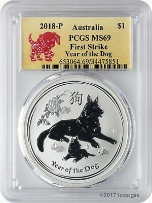 2018-P $1 Australia Year of the Dog 1 oz. Silver Coin PCGS MS69 First Strike