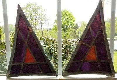 Twin Gothic Arch Top Sidelights Church Stained Leaded Glass Window, Antique